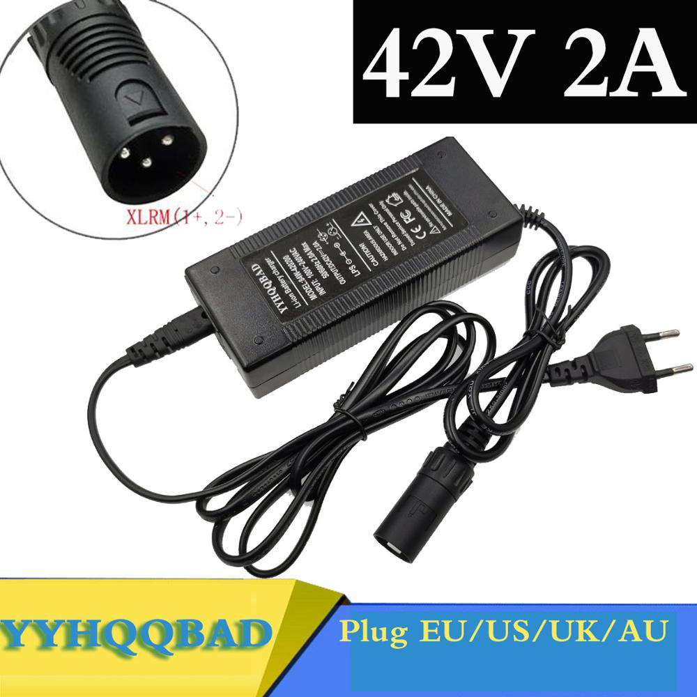 36V Charger 42V 2A electric bike lithium battery charger for 36V lithium battery pack with 3-Pin XLR Socket connector