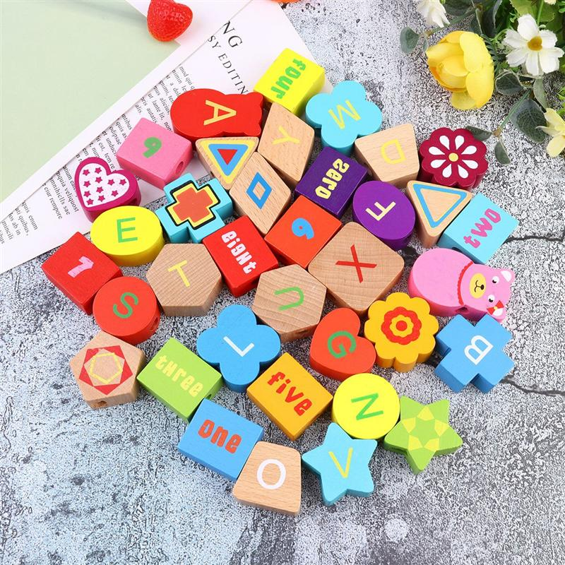 1 Set Of Wooden String Beads Toy Numbers Alphabet Blocks Beading Toys Educational Toys For Children Kids Toddlers