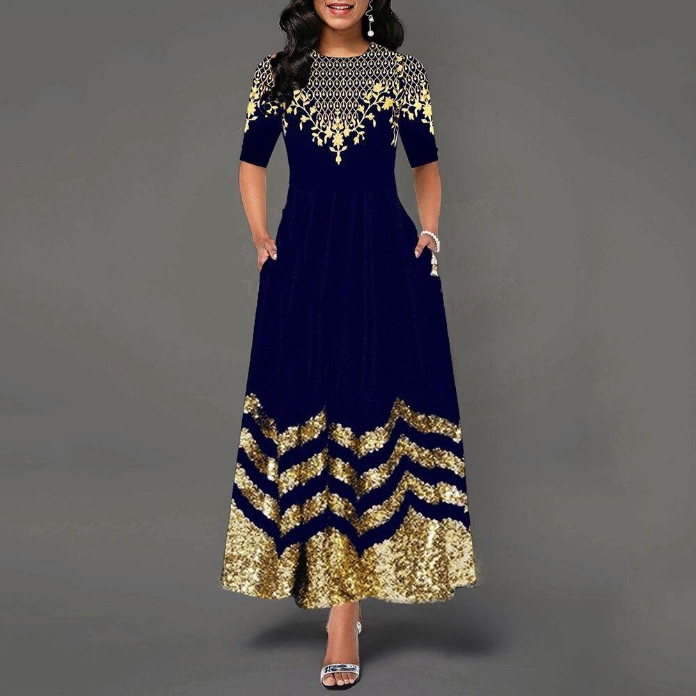 Women Dress 2021 Summer Casual Slim Floral Print High Waist Ball Gown...
