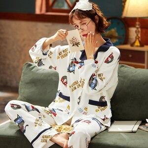 Image 5 - BZEL New Fashion Sleepwear Womens Cotton Pajamas With Pockets Quality Pijama Loose Pyjama Femme Home Wear Nightwear M XXXL