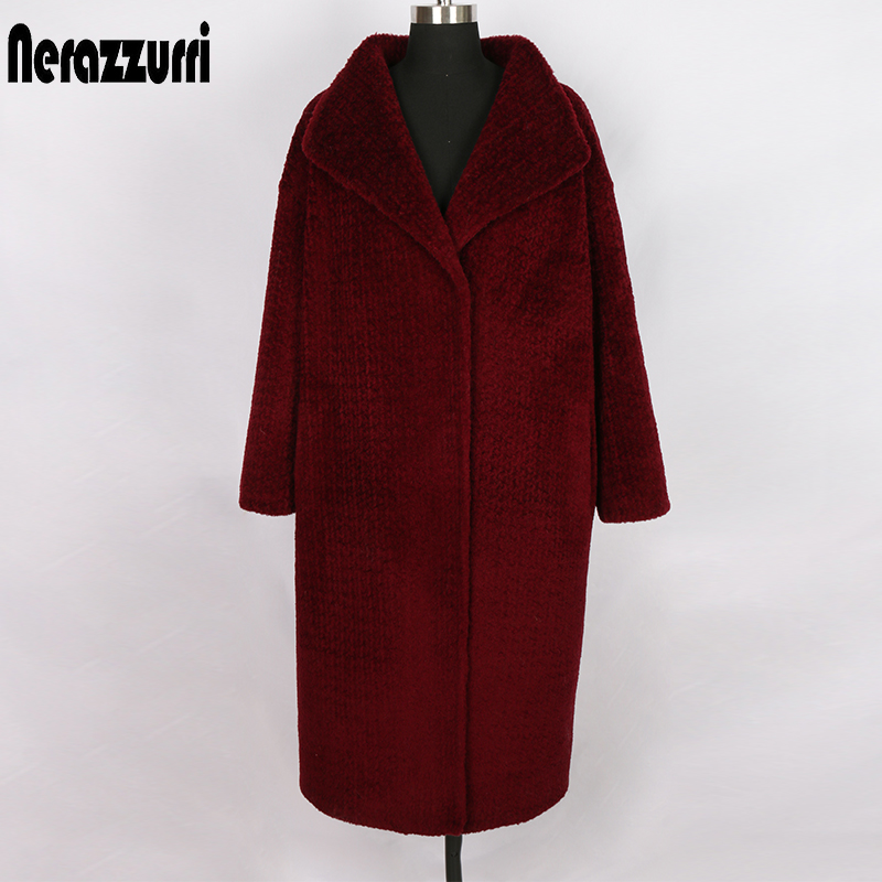 Nerazzurri Natural Real Fur Coat Women Oversized Loose Red Wine Womens Shearling Coat Plus Size Cocoon Genuine Shearing Jacket