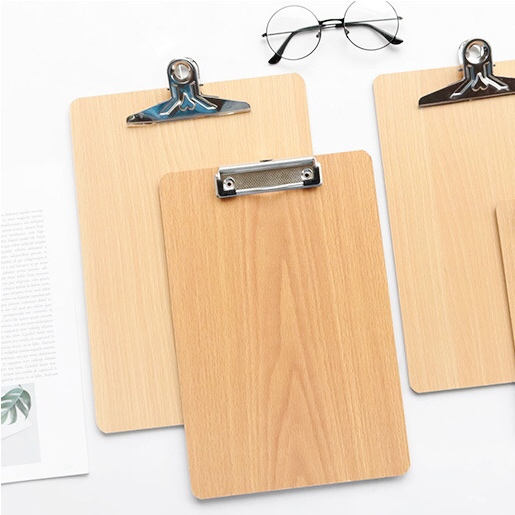 A5 Paper Clip File Black Wood Folder Writing Board Metal Butterfly Clip Document Ticket Menu Clipboard Stationery Office Supply