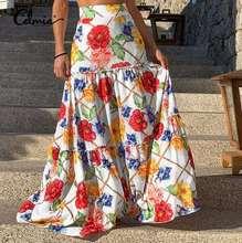 Celmia Holiday A-line Long Faldas 2021 Fashion Women