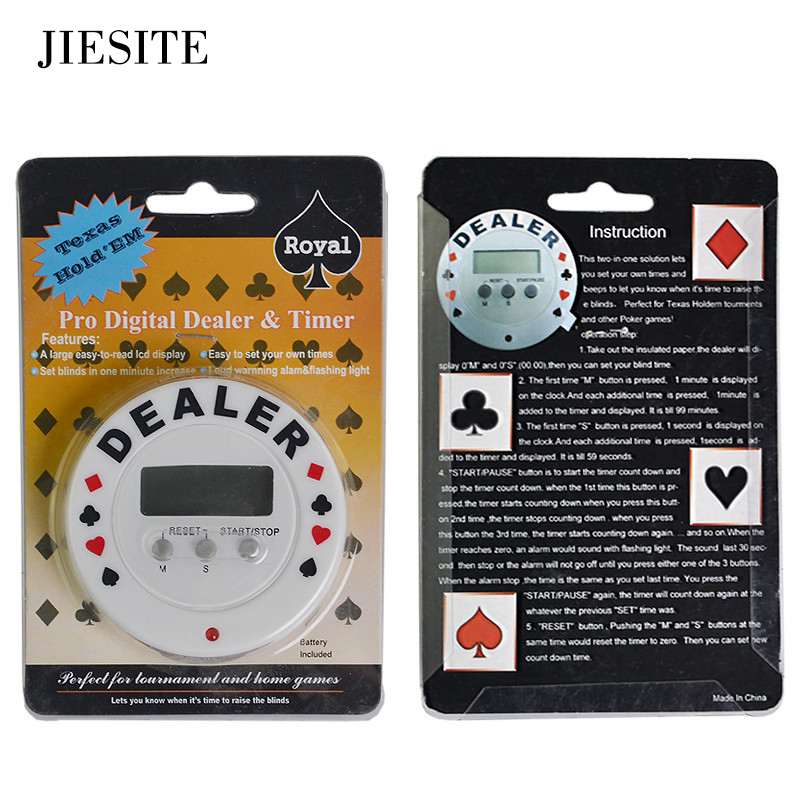 Casino Poker Tournament Timer Pro Digital Dealer&Timer Black Jack Texas Hold'em Plastic Poker Chips Accessories Free Shipping