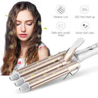 Professional 110-220V Hair Curling Iron Wave Wand Ceramic Triple Barrel Hair Curler Roller Corrugation Hair Waver Styling Tools