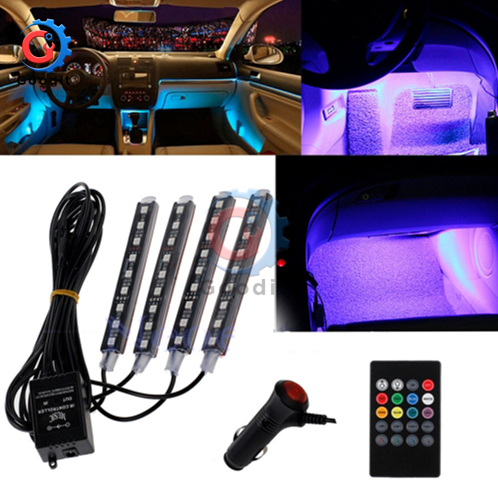4pcs Auto Interni RGB Color 9 LED Strip Light Kit Wireless Music Control Automatic Controller 7 color For Atmosphere SMD5050