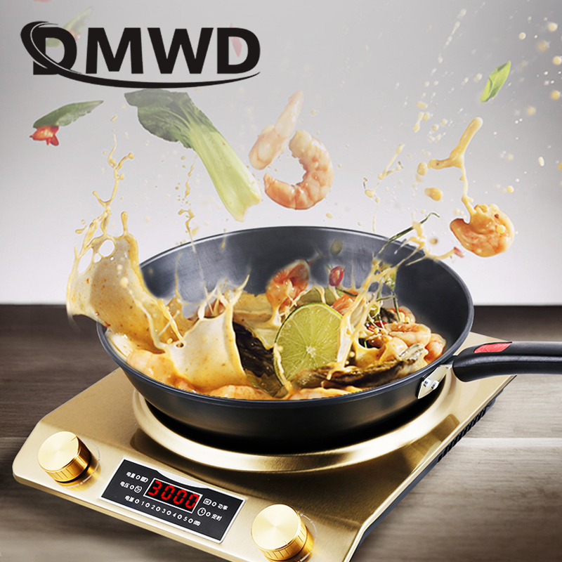 DMWD Electric Induction Cooker Waterproof 3500W Concave Type Magnetic Hotpot Hob Burner Soup Stir-fry Cooking Stove Cooktop EU