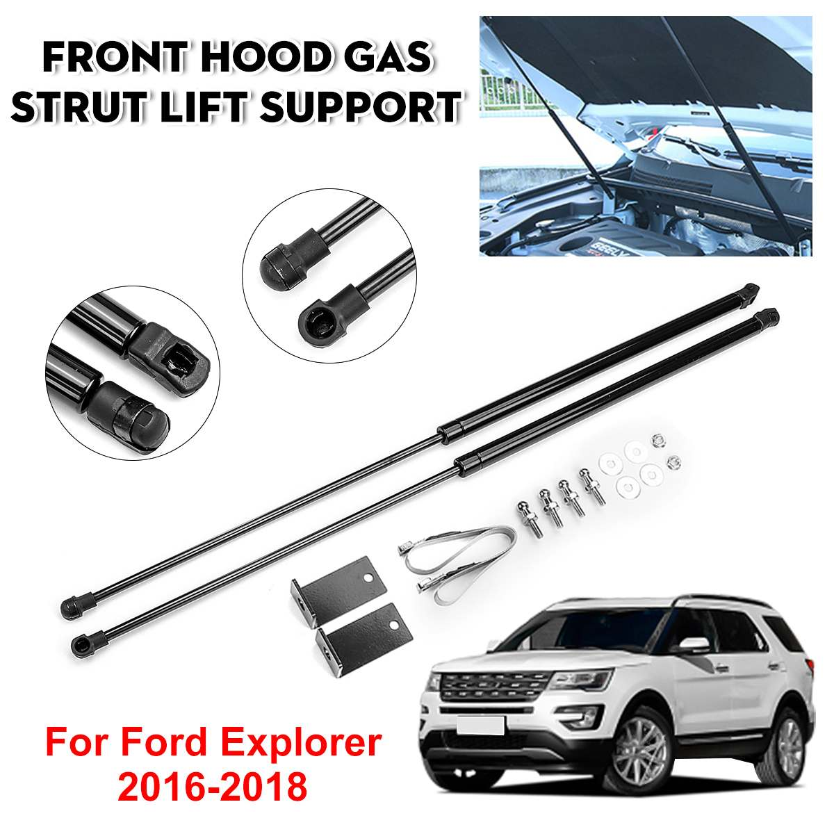 2X ฝาครอบด้านหน้า Bonnet Hood แรงกระแทก Struts บาร์สนับสนุนแขนแก๊สไฮดรอลิกสำหรับ Ford Explorer 2016 2017 2018