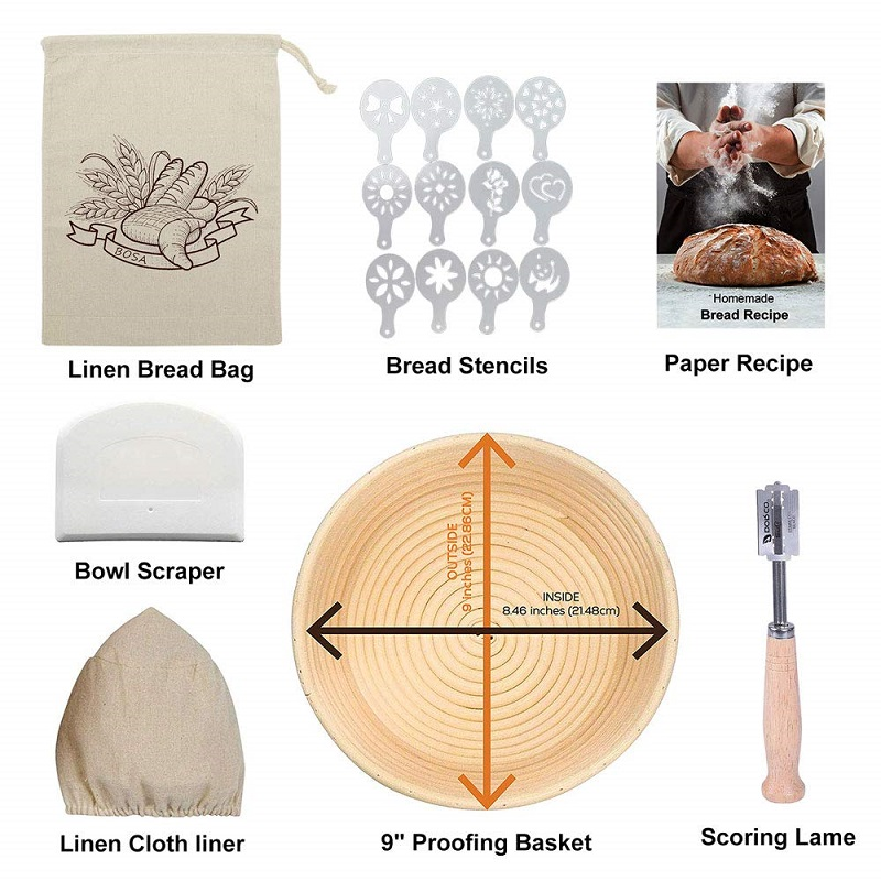 Image 2 - 9 Inch Round Fermentation Rattan Basket Country Bread Baguette 