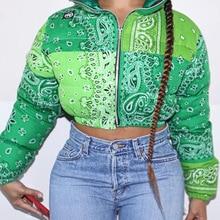 Winter Print Woman Jacket Coat Parkas Zipper Turn Down Collar Zipper Female Full Sleeve Outwear Winter Coat Streetwear Outfits