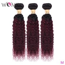 Wome пучки человеческих волос Ombre предварительно окрашенные бразильские кудрявые вьющиеся волосы плетение пряди 1b/99j два тона не Реми волосы для наращивания