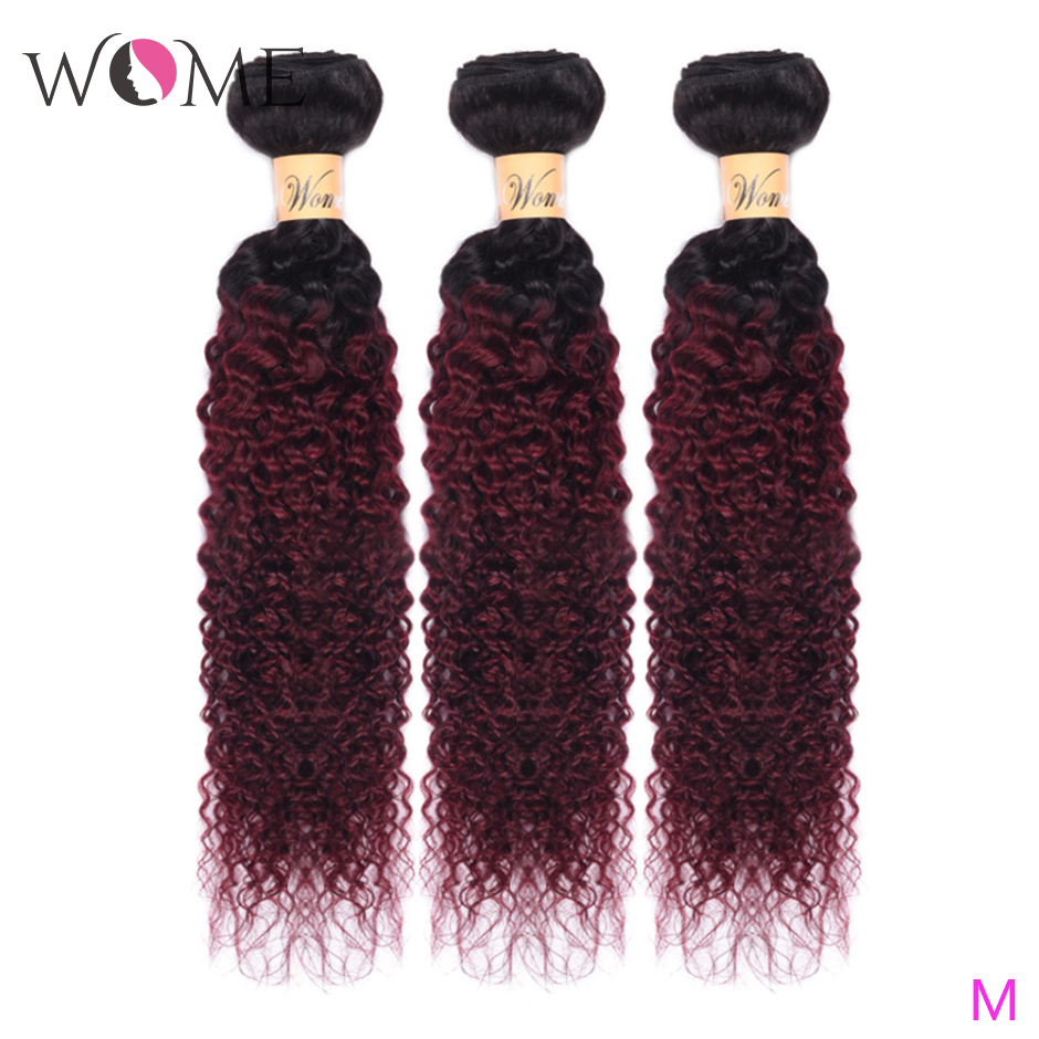 Wome Ombre Human Hair Bundles Pre-colored Brazilian Kinky Curly Hair Weave Bundles 1b/99j Two Tone Non-remy Hair Extensions