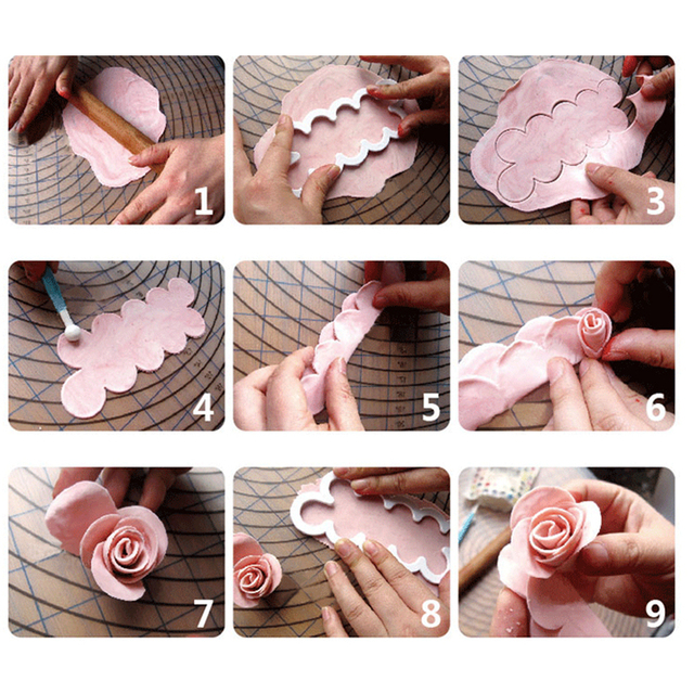 3D Rose Petal Flower Shaped Cutter Maker Elegant Cake Mould Fondant