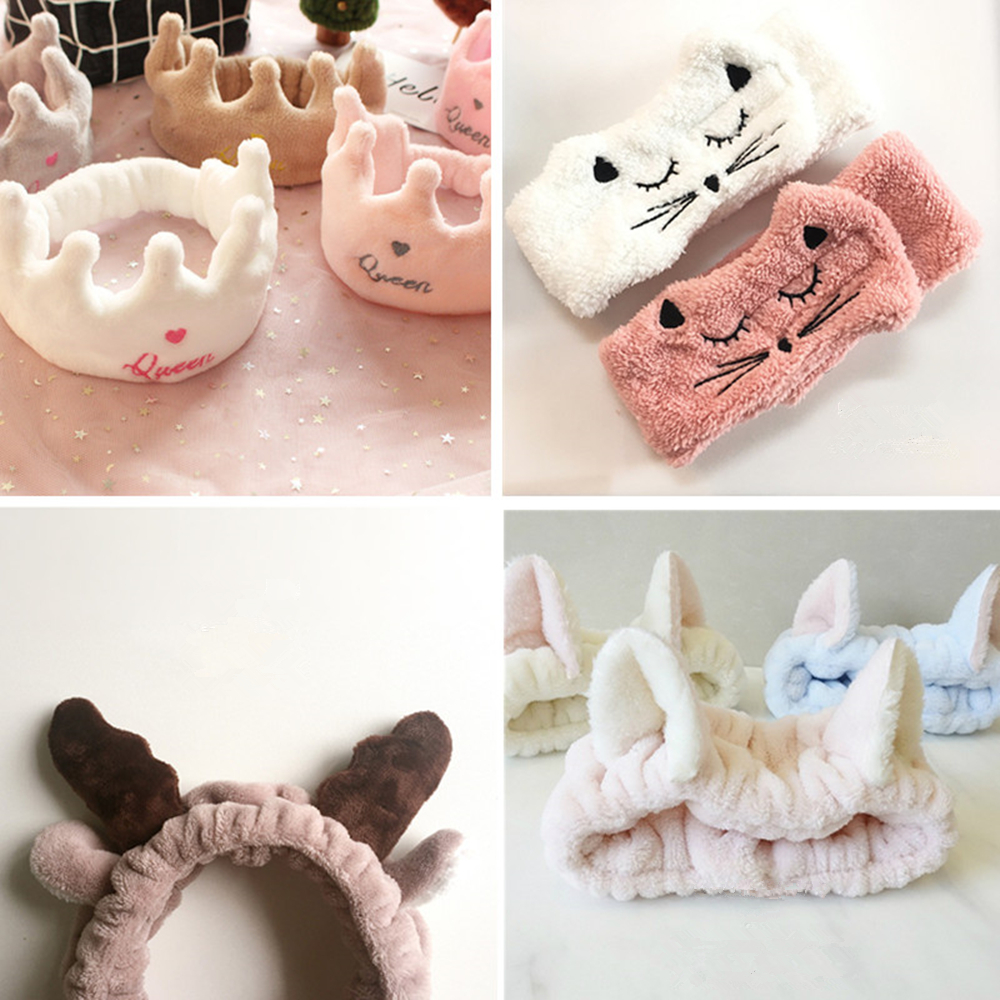 2018 New Soft Crown Hair Band Facial Mask Cute Baby Bands Girl Women Hair Bands Wash Face Multi-color Choice
