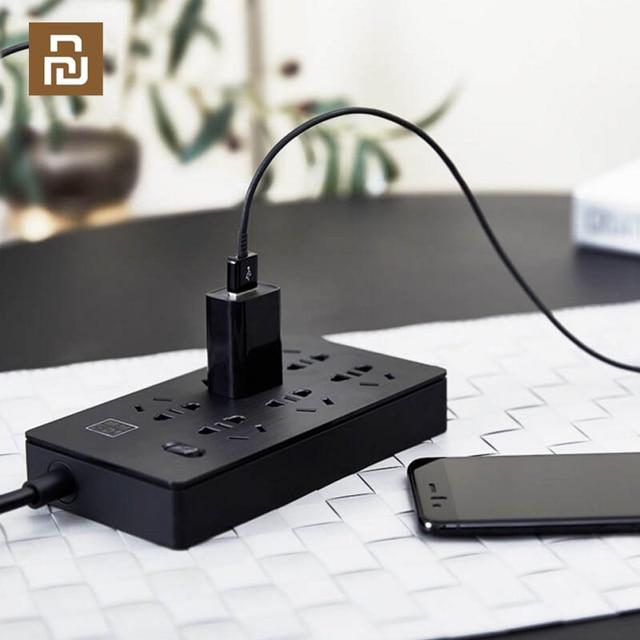 YOUPIN Airgo 전원 스트립 6 포트 3 USB 확장 6 소켓 3 USB 고속 충전 5V 2.1A Аor 가정 및 여행