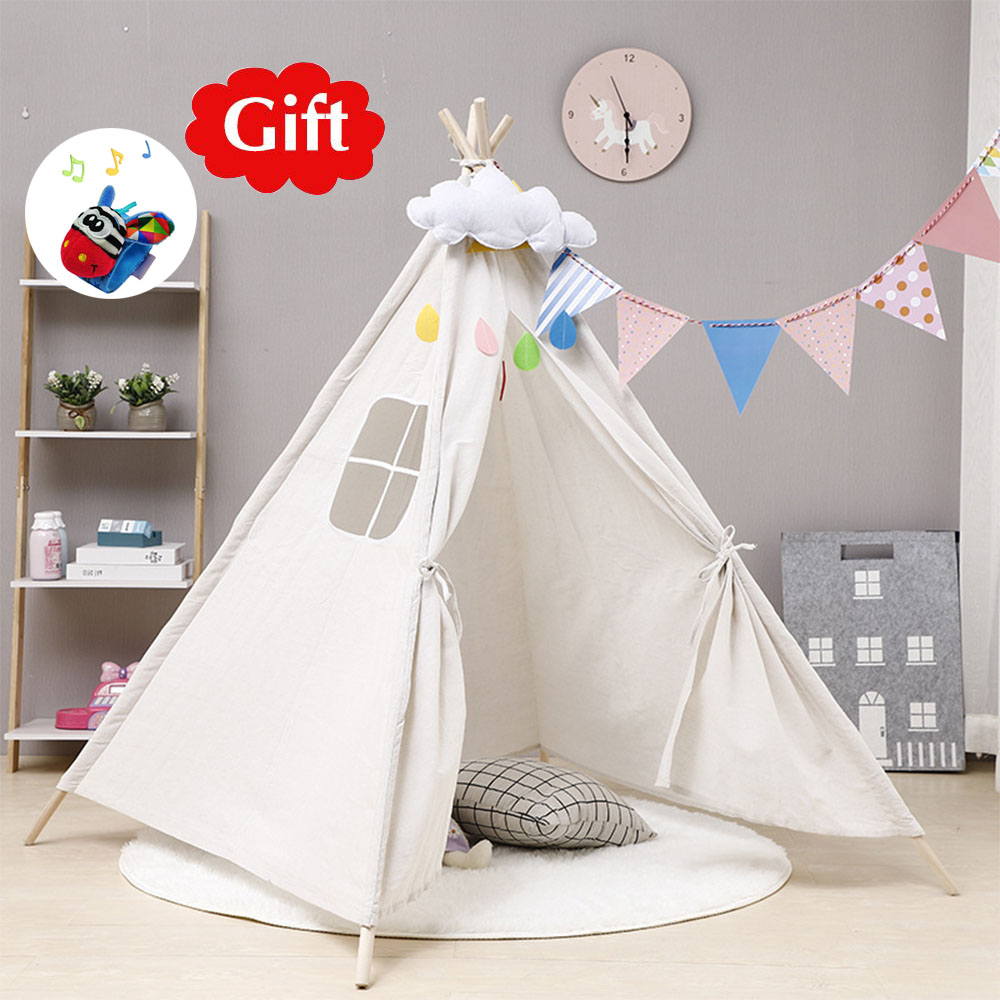 1.35m Portable Children's Tents Tipi Play House Kids Cotton Canvas Indian Play Tent Wigwam Child Little Teepee Room Decoration