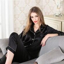 Женщины% 27 пижамы дом обслуживание костюм женские свободные повседневные однотонные цвет кардиган с длинными рукавами качество моделирование шелк пижама комплект