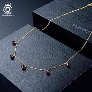 Image 4 - ORSA جواهر 100% ريال 925 المرأة الحجر الطبيعي قلادة قلادة 18K الذهب سلسلة الاسترليني قلادة فضية العصرية الجميلة مجوهرات SN149