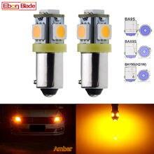 2X voiture LED ampoule blanc ambre jaune Auto intérieur dôme carte lecture Instrument lumière BA9S T4W BAX9S H6W BAY9S H21W lampe 6V 12V 24
