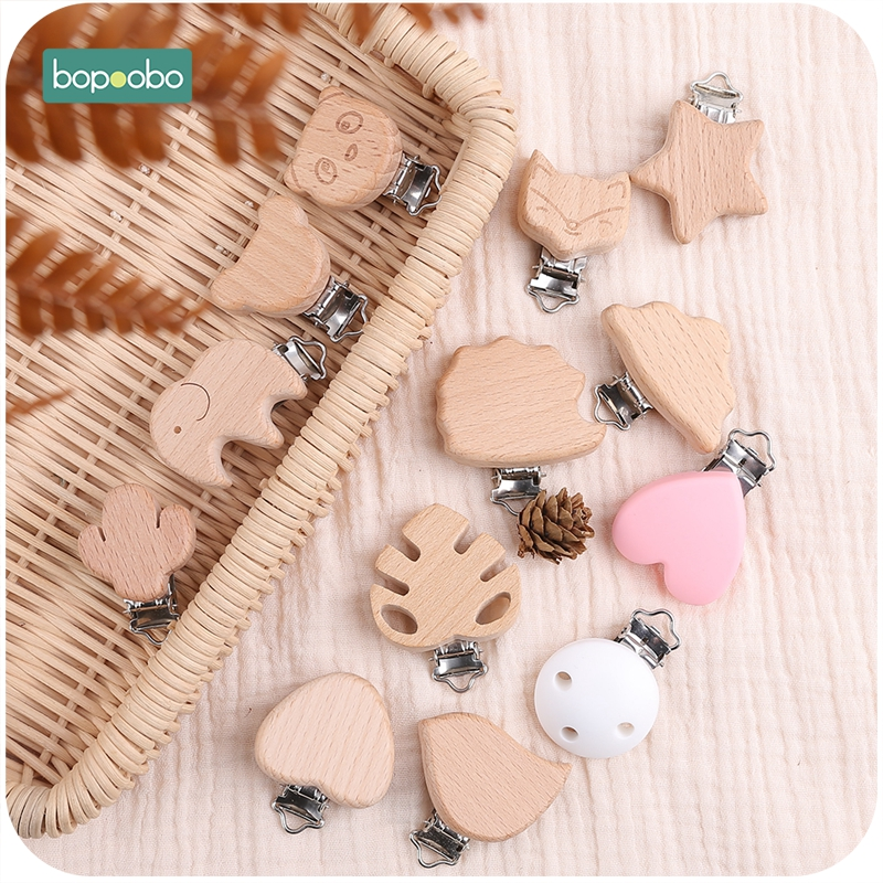 Bopoobo 3pc Silicone Pacifier Clip Cartoon Wooden Soother Clip Nursing Accessories Diy Dummy Clip Chains Wooden Baby Teether