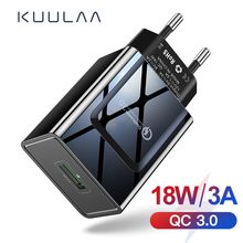 KUULAA Quick Charge 3.0 Mobile Phone Charger USB Charger US Plug 18W QC 3.0 Fast Charger For Xiaomi Redmi 5 samsung galaxy s9