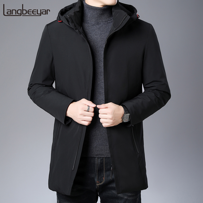 Top Grade 2019 New Winter Fashions Brand Down Jackets Mens Hooded Streetwear Feather Coat Long Duck Down Warm Men Clothing