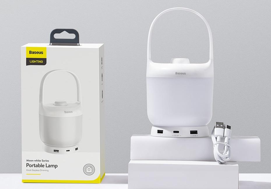 Baseus Moon White Series Knob Stepless Portable Lamp 7