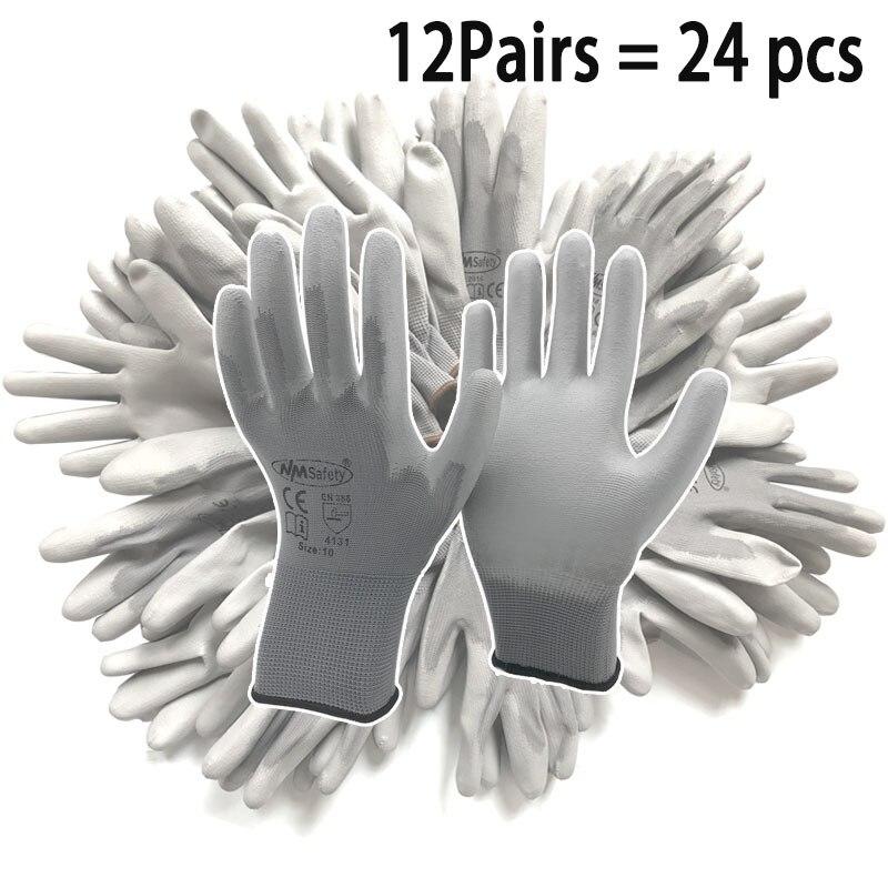 Nmsafety 12pairs/24 pces segurança protetora revestido luvas de trabalho do plutônio palma mecânico luva de trabalho ce habilitado en388 4131x|Luvas de segurança|   -