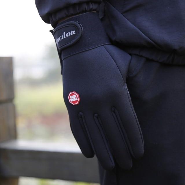 Outono inverno das mulheres dos homens luvas de ciclismo dedo cheio tela sensível ao toque ao ar livre esportes luvas de bicicleta com logotipo reflexivo 2