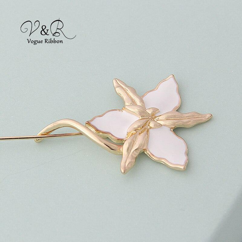 Enamel Flower Long Metal Bar Ball Brooch Pin (2)