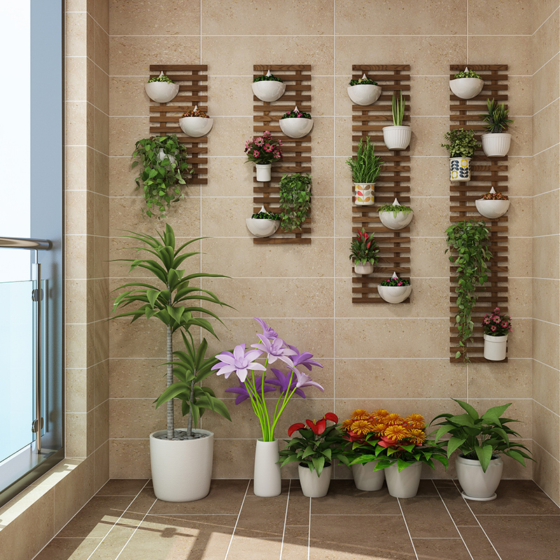 Flower Wall Frame Hanging Wall Flower Stand Balcony Wall Hanging Decorative Wall Plant Flower Shelf Hanging Wall Flower Pot Rack