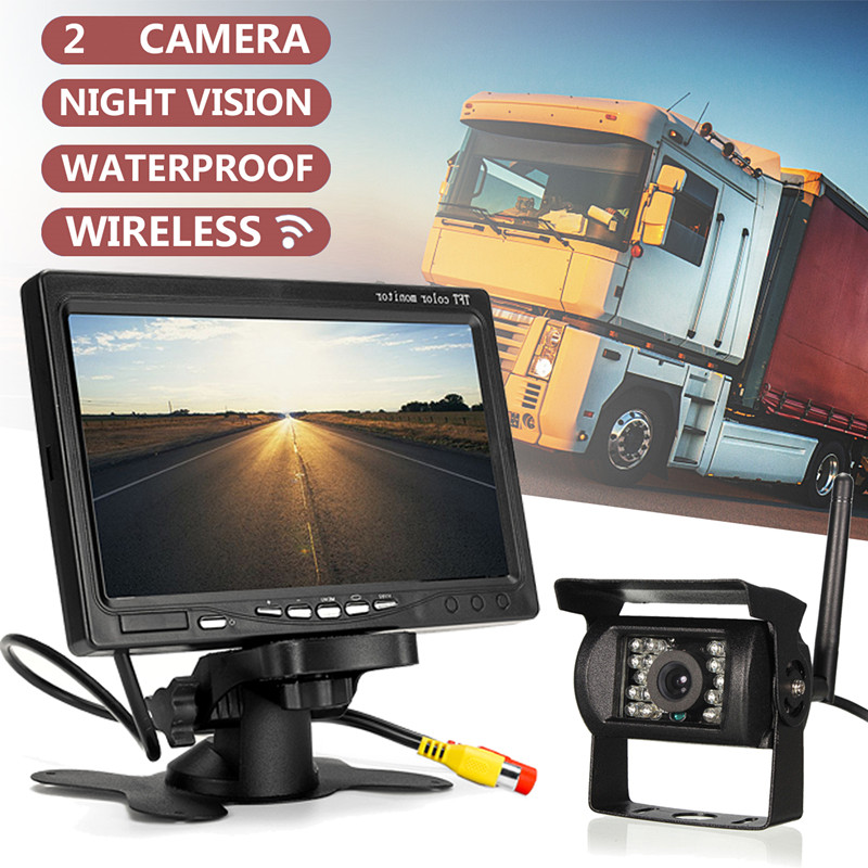 7inch Waterproof Wireless Car Monitor TFT LCD Car Rear View Camera Night Vision Reversing +1/2 Rear Camera For Bus RV Trailer
