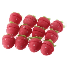 12 pcs/set Magic Hair Curlers Cute Strawberry Curler Soft Sponge Foam Balls Curl