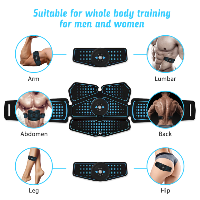 Abdominal Muscle Trainer EMS Fitness Equipment Training Gear Muscle Exerciser Stimulator Belt Belly Arm Leg Massage USB Charged 4