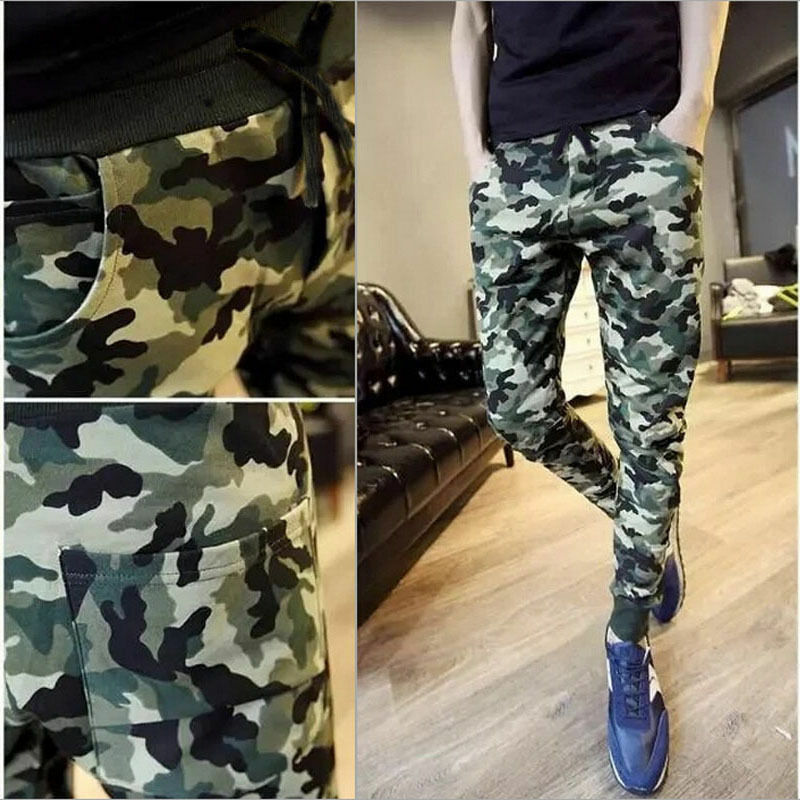 Fashion Men Camo Casual New Pants Joggers Slim Fit Skinny Casual Pencil Long Trousers