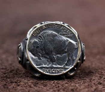 Wanderer coin ring 925 sterling silver handmade retro vintage personality tide men's yak ring