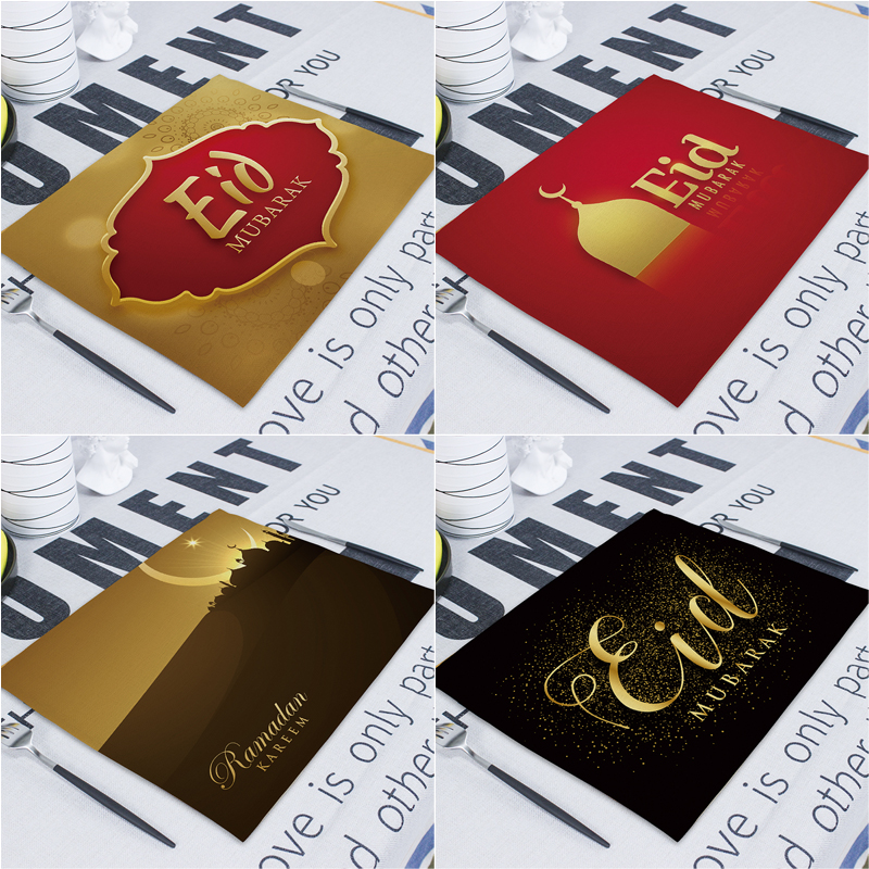 Eid Mubarak Decor Ramadan Decoration For Home Table Decoration 42*32cm Table Mat Party Islam Ramadan Kareem Eid Mubarak Decor