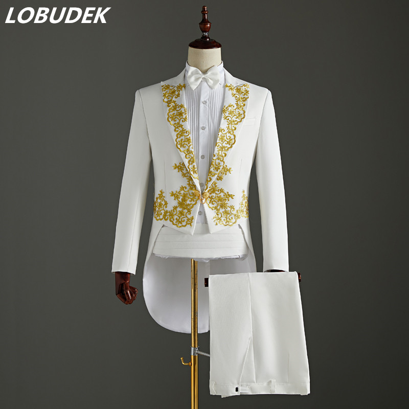 Jacket Pants  2 Piece Wedding Suit White Embroidery Tailcoat Set Singer Host Swallowtail Costumes Magician Chorus Stage Suits