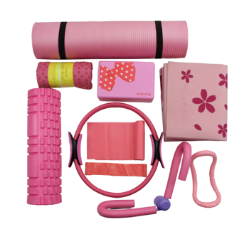 9 Pieces Yoga Set PVC NBR folding Yoga mat yoga ball resistance band loop leg clip yoga towel yoga  block fitness equipment yoga cures