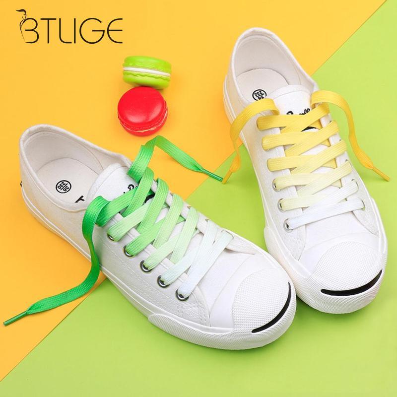 110CM Flat Color Gradient Changing Colors Shoe Laces Party Camping Boots Shoelace Canvas Strings Growing Sport Shoelaces