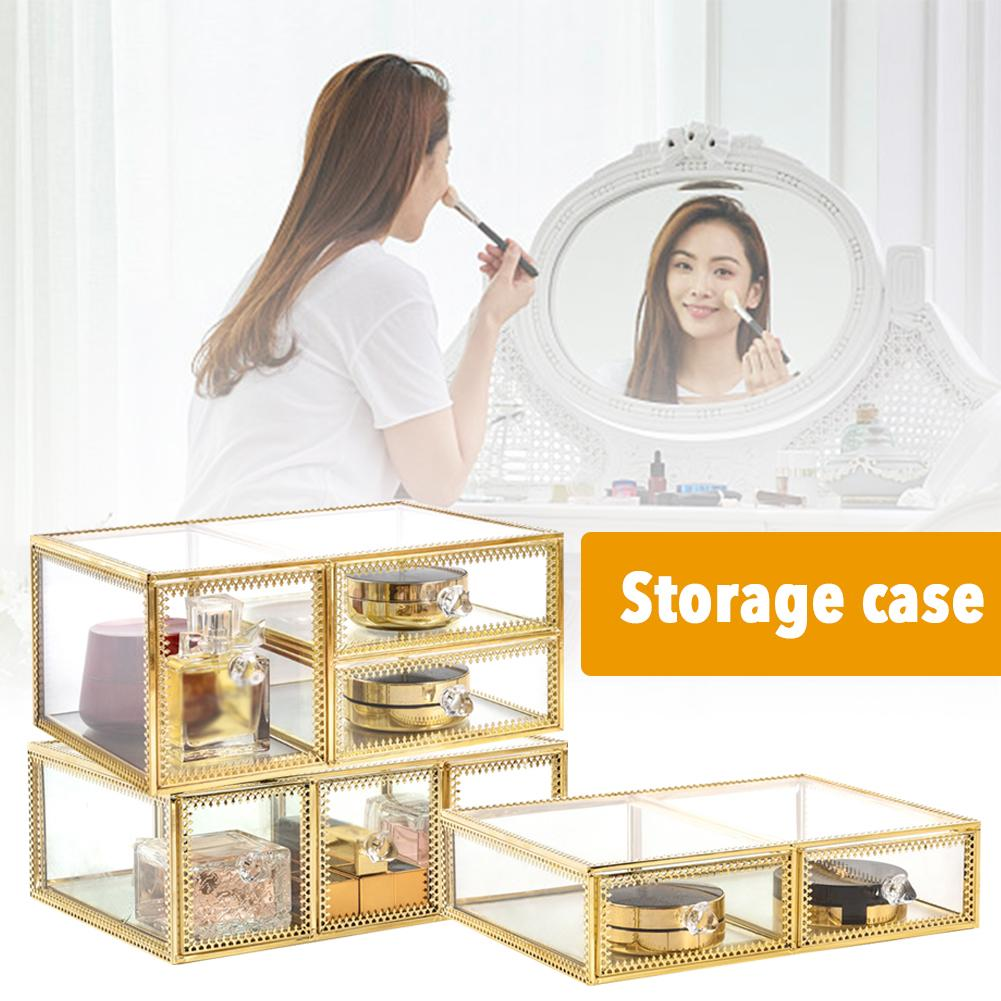 Vintage Makeup Organizer 3 Layers 6 Drawers Detachable Cosmetic Organizer Glass Makeup Storage Box For Bathroom Vanity Dresser
