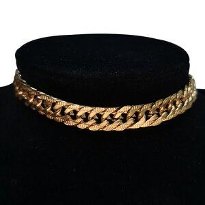 Punk Kubanischen Choker Halskette Kragen Aussage Hip Hop Big Chunky Edelstahl Gold Farbe Dicke Kette Halskette Frauen Schmuck