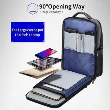 BOPAI Genuine Leather Backpack Laptop Mens Business Casual Waterproof Back Pack Male Computer Bagpack Black Backpacking 5