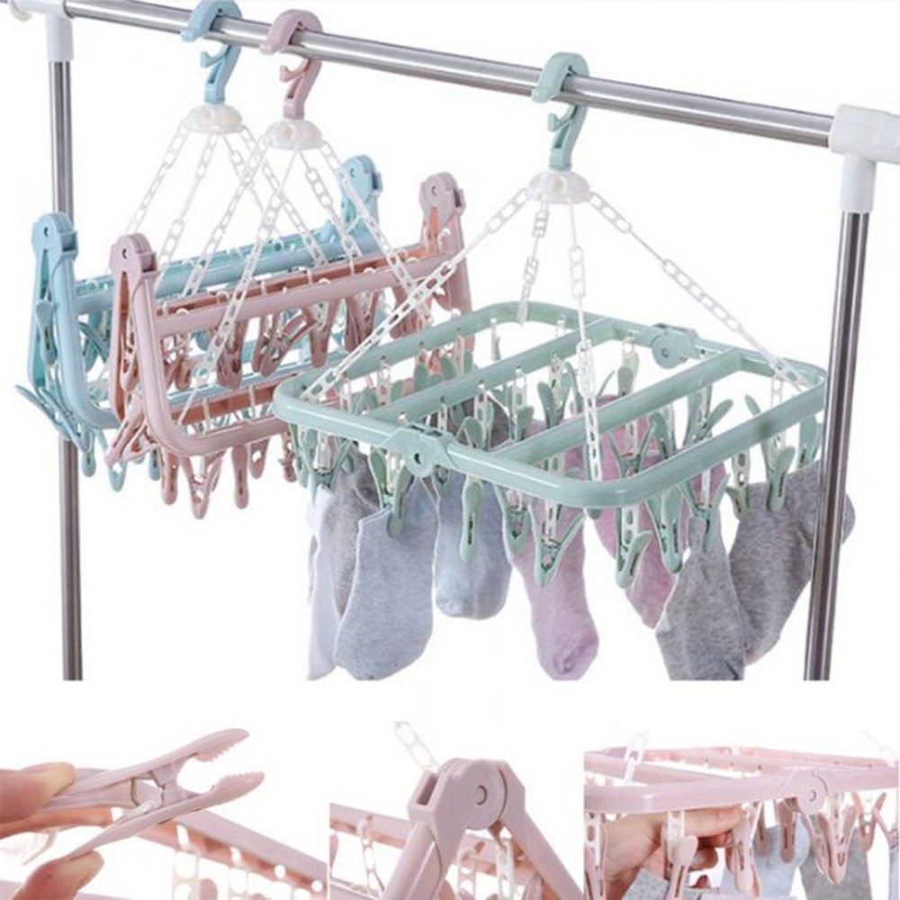 Folding Clothes Hanger Towels Socks Bras Underwear Drying Rack With 32 Clips Plastic Space Saving Closet Organizer Hanger Rack
