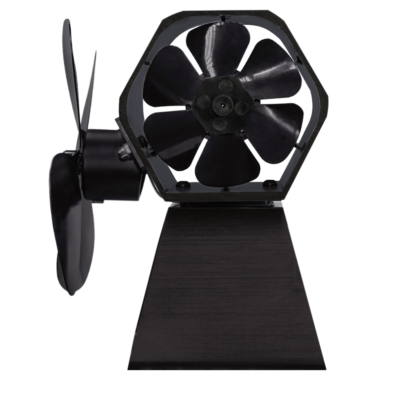 4 Blade Heat Powered Stove Fan Log Wood Burner Fan Quiet Black Home Fireplace Fan Efficient Heat Distribution
