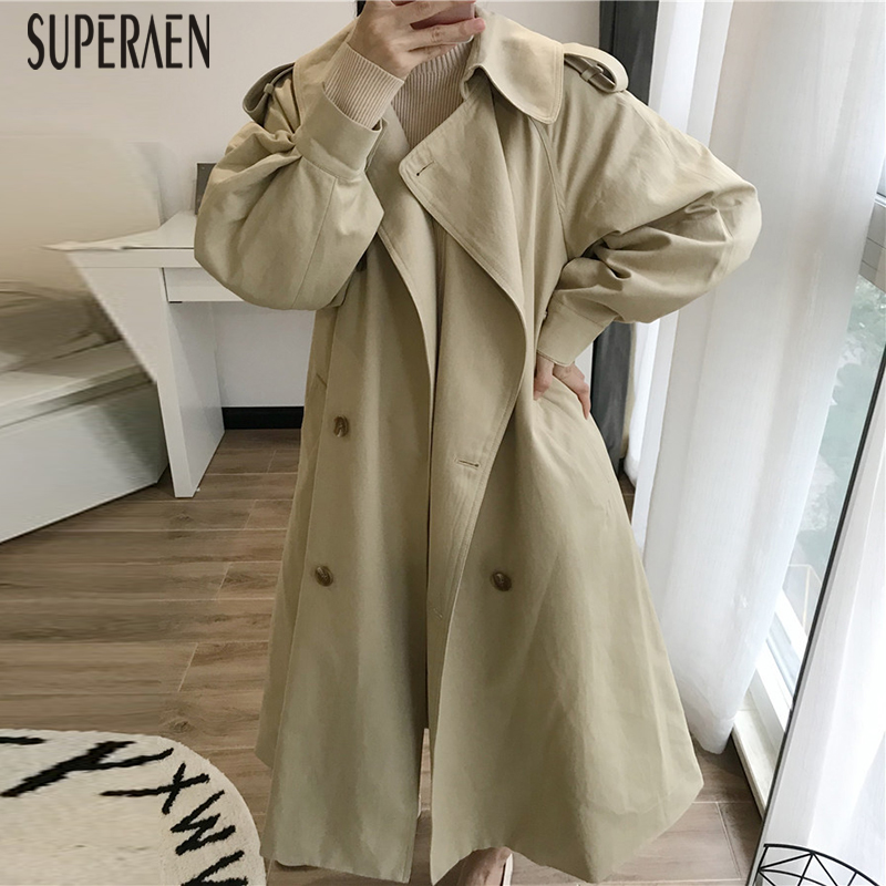 SuperAen 2019 Autumn New   Trench   Coat for Women Wild Cotton Casual Ladeis Windbreaker Solid Color Women Clothing