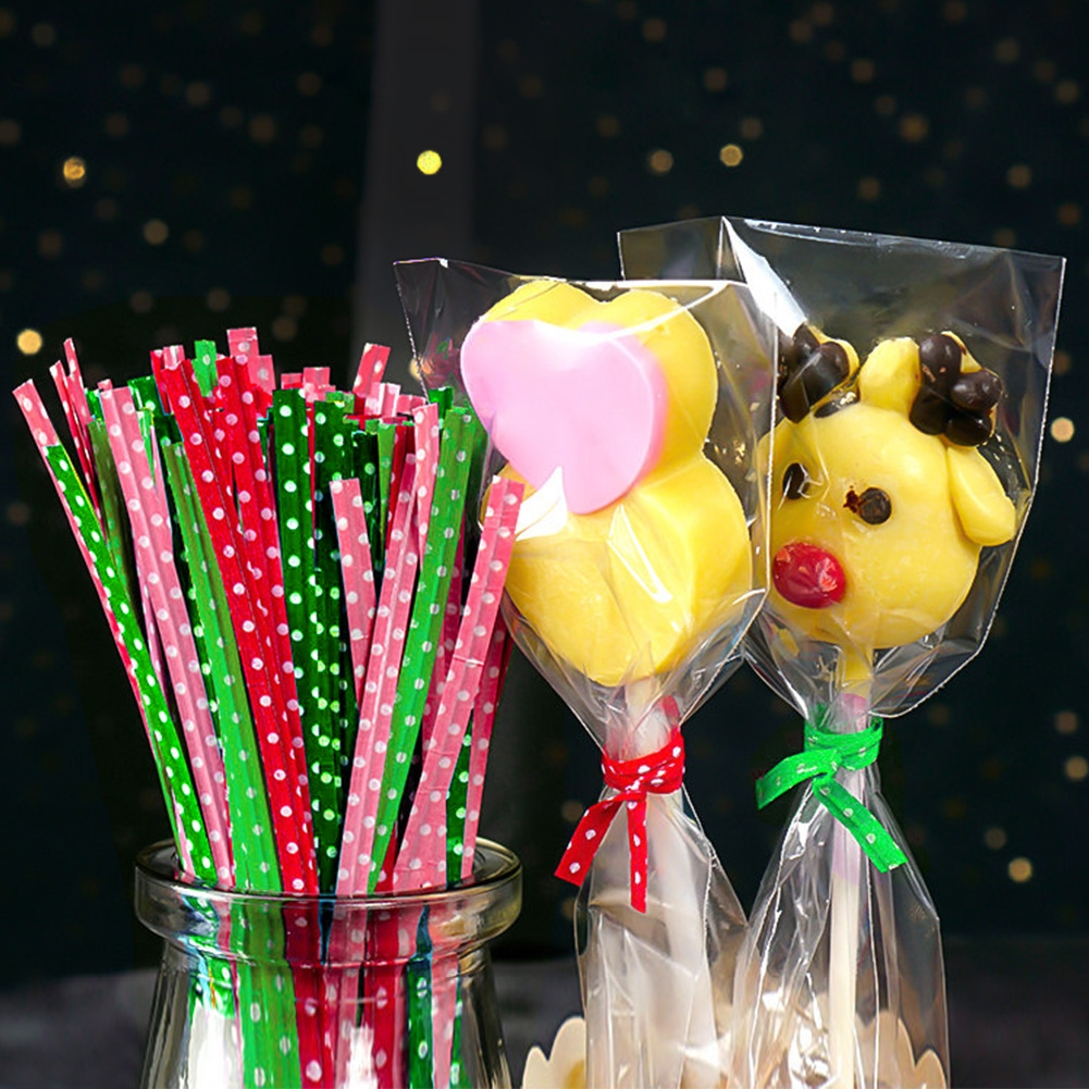 100Pcs/pack Colorful Dots Metallic Twist Ties For Candy Cake Bag Ornament Lollipop Gifts Package Wrapping DIY Wedding Decoration