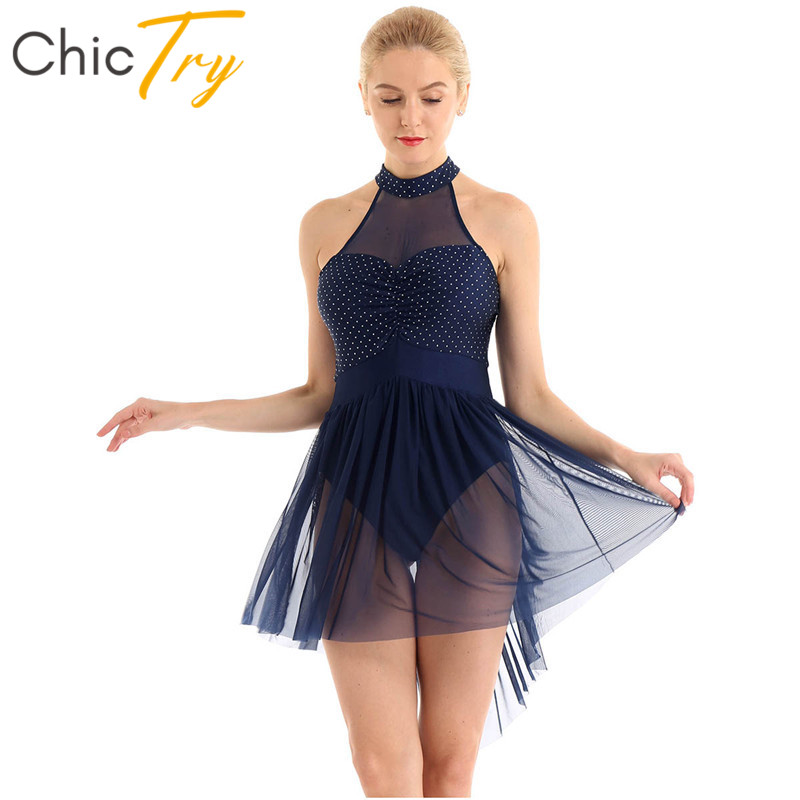 ChicTry Women Halter Polka Dots Sequins Tulle Dance Dresses Gymnastics Leotard Ballet Figure Skating Dress Performance Costume