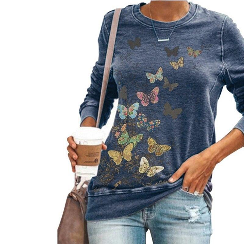 Элегантная футболка с длинным рукавом и принтом бабочки, Женский Осенний Повседневный Топ с круглым вырезом, модные женские синие футболки ...