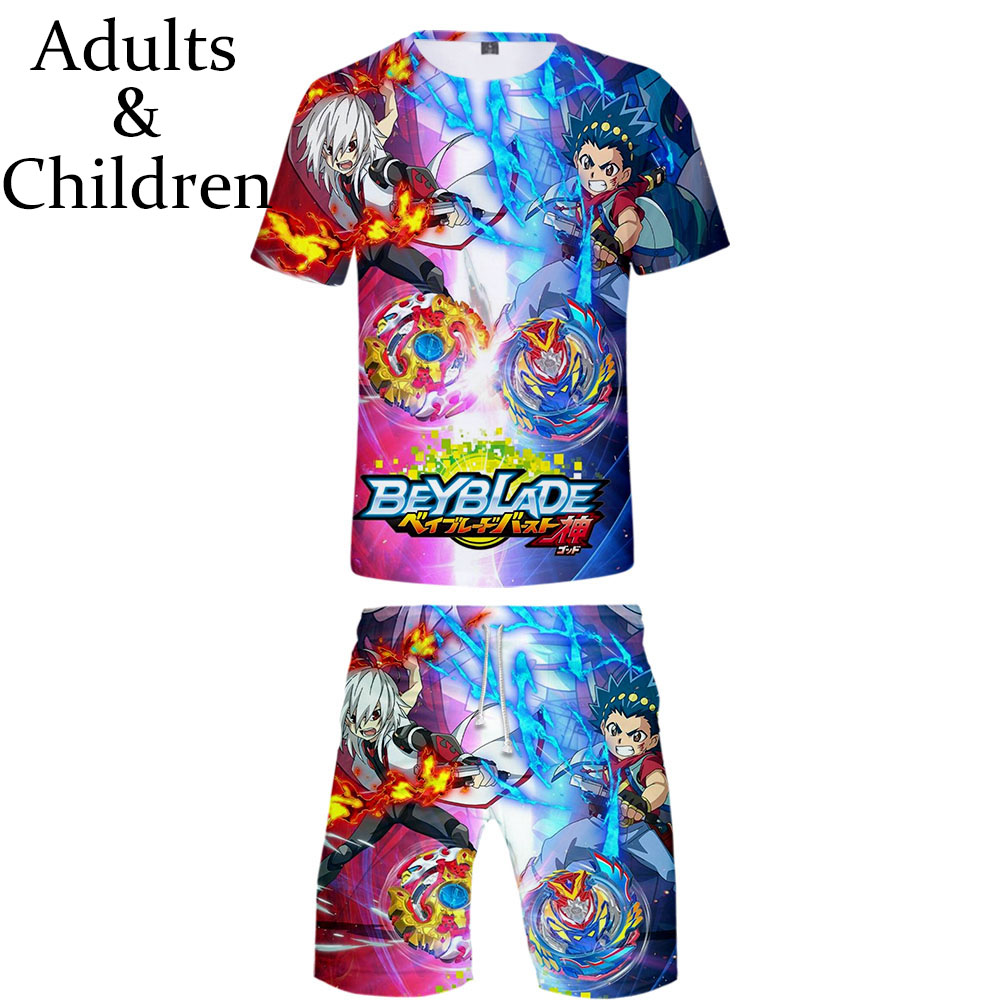 3D Print Beyblade Burst Evolution T-shirt+Beach Shorts Harajuku Hip Hop Summer Two-piece Sets Fashion 3D Boys Girls Cool Clothes